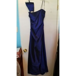 Long one shoulder indigo blue dress